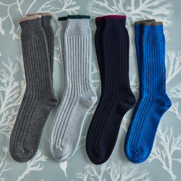 Men's Cashmere Socks – Navy with berry detail