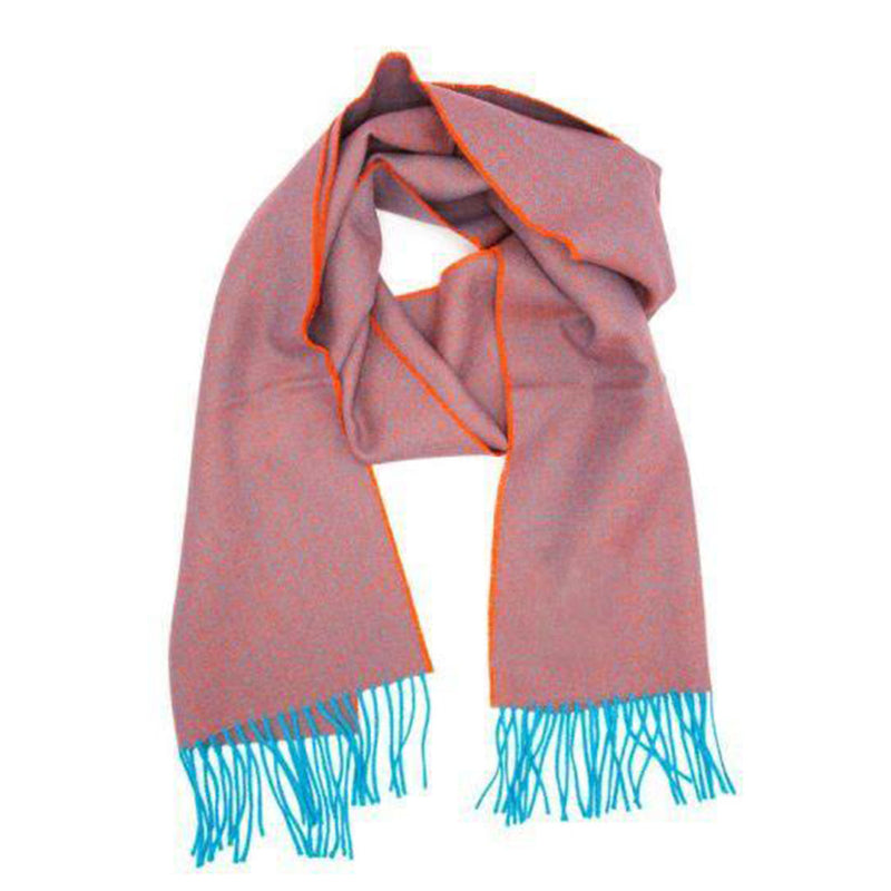 Premium Alpaca Diamond Scarf - Teal/Orange - Josephine Home