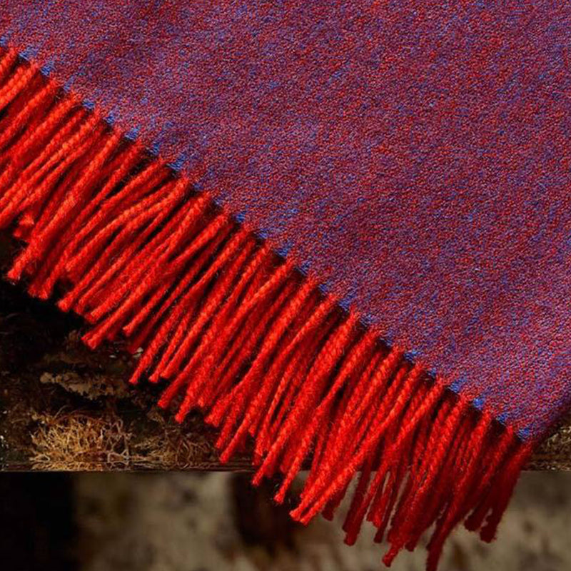 Premium Alpaca Diamond Scarf - Blue/Orange - Josephine Home