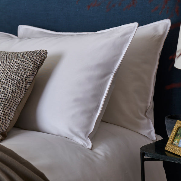 'Classic' Housewife Pillowcase – White with Grosgrain Trim - Josephine Home