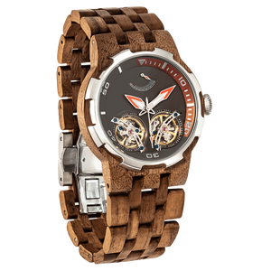 Men's Dual Wheel Automatic Walnut Wood Watch
