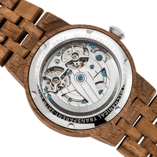 Load image into Gallery viewer, Men's Dual Wheel Automatic Walnut Wood Watch