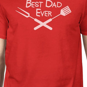 Best Bbq Dad Mens Red Round Neck Tee Funny
