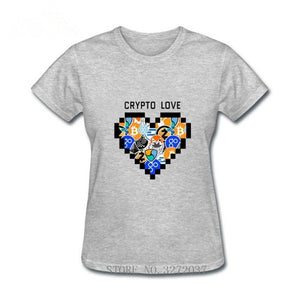 Crypto Bitcoin Love Heart Design women t-shirt Ripple 2019 Trendy pop Tshirt ladys 100% Cotton Short Sleeve Round Neck Shirt