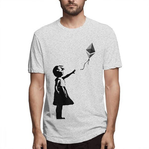 Novelty Design Ethereum Balloon Girl Banksy Loves Ethereum Series T shirt Male 3D Print T-Shirt Cotton Big Size Camiseta