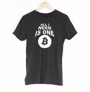 All I Need Is One Bitcoin Mens T Shirt Internet Digital Coin Cryptocurrency Tee