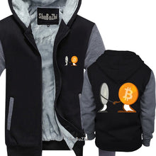 Load image into Gallery viewer, thick fleece Ethereum And Bitcoin shubuzhi men winter padded zipper sweatshirt fashion brand print hoodies cool hip-hop hoody