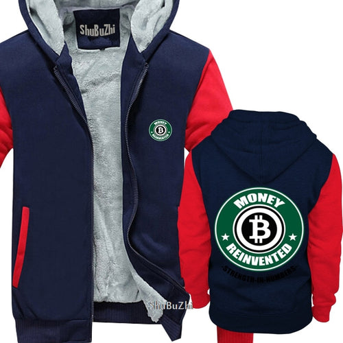 thick fleece Money Reinvented Bitcoin shubuzhi men winter padded zipper sweatshirt fashion brand hoodies cool hip-hop hoody