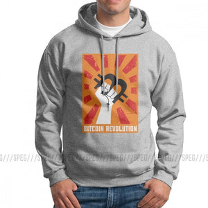 Funny Hoodie Man Bitcoin Revolution Pure Cotton Hooded Sweatshirts High Quality Pullovers