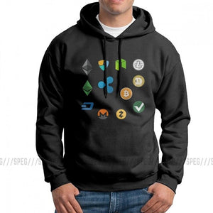 Men's Bitcoin Cash Fork Ethereum Nem Dash Monero Zcash Mining NEO Litecoin Ripple Cryptocurrency Hoodies Hooded Sweatshirt Tops