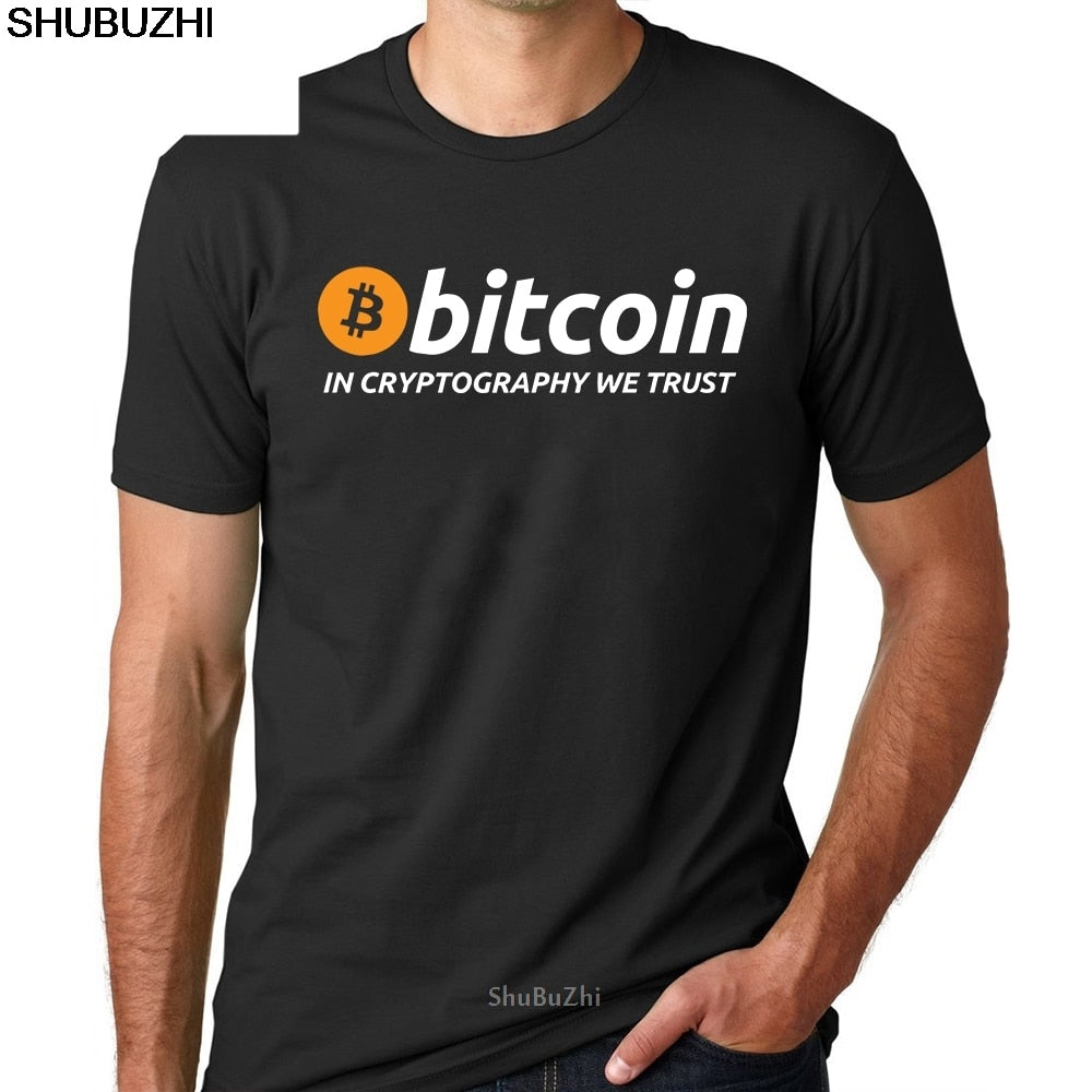 T Shirts Bitcoin In Cryptography We Trust Men's O Neck Moon Short Sleeve Cryptocurrency T-Shirt Men Funky Tees Cotton Clothes