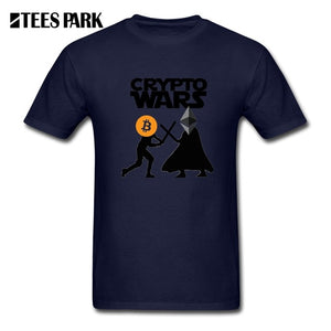 Funny Tees Bitcoin and Ethereum Crypto Wars Blockchain T-Shirts Cryptocurrency Funny T Shirts for Man Short Sleeve Adult Tops