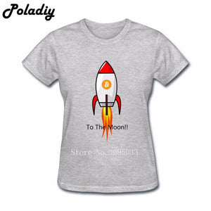 Custom Made Women Short Sleeve Clothes Female Bitcoin To Moon Shirt T Shirts Women 3d Printed Lady 100% Cotton T Shirts