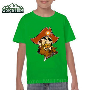 Pirate T Shirts Bitcoin In Cryptography Kids O Neck Funny Short Sleeve Cryptocurrency 3D T-Shirt Child Funky Tees Cotton Clothes