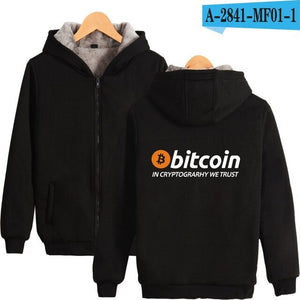 New Bitcoin In Cryptograrhy We Trust Hoodies With Zipper Men Women Casual Bitcoin Thick Warm Hooded Sweatshirts