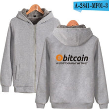 Load image into Gallery viewer, New Bitcoin In Cryptograrhy We Trust Hoodies With Zipper Men Women Casual Bitcoin Thick Warm Hooded Sweatshirts