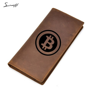 Engraved Digital currency Bitcoin Logo Wallet Male Purses Cow Leather Men Zipper Pocket Multi Card Holders Purse Long Wallet