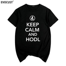 Load image into Gallery viewer, keep calm and hodl Litecoin Cryptocurrency Bitcoin Dash Zcash Ethereum Summer print T-shirt Cotton Men T shirt New women TEE