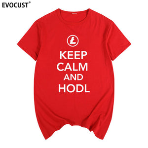 keep calm and hodl Litecoin Cryptocurrency Bitcoin Dash Zcash Ethereum Summer print T-shirt Cotton Men T shirt New women TEE