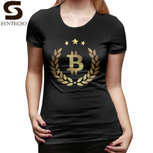 We Accept Bitcoin T-Shirt Bitcoin T Shirt Black Plus Size Women tshirt Short-Sleeve Street Wear Cotton O Neck Ladies Tee Shirt