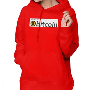 We Accept Bitcoin Hoodie We Accept Bitcoin Hoodies Printed Long Sleeve Hoodies Women Gray Street wear Cotton Pullover Hoodie