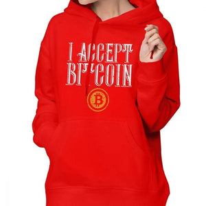 We Accept Bitcoin Hoodie Bitcoin Hoodies Long-sleeve Oversize Hoodies Women Blue Streetwear Sweet Cotton Printed Pullover Hoodie