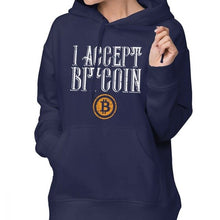 Load image into Gallery viewer, We Accept Bitcoin Hoodie Bitcoin Hoodies Long-sleeve Oversize Hoodies Women Blue Streetwear Sweet Cotton Printed Pullover Hoodie