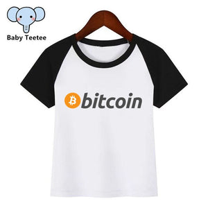 Boys and Girls Anime Currency Bitcoin Logo Print T Shirt Baby Kids Funny Clothes Chirden Summer T-shirt