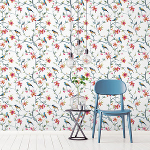 Customise Colour: Floral Bird Wallpaper
