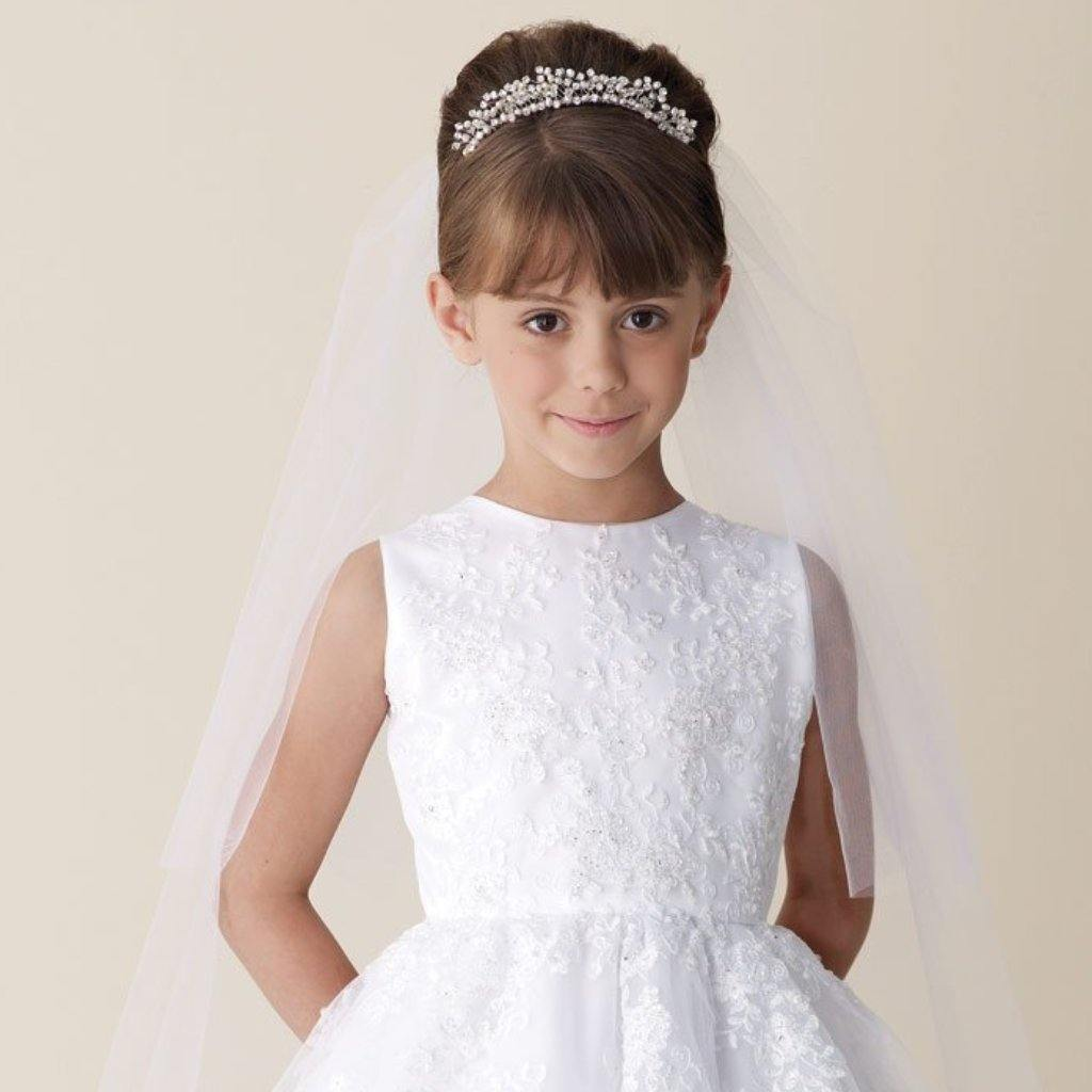 PV80 Veil with pearls - Elliott Chambers    - Bridal -  Debs Dresses -  Communion dresses