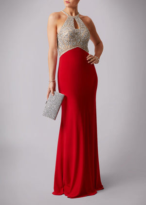 MC1133 Debs Dress Red €320 - ELLIOTT CHAMBERS DUNDRUM