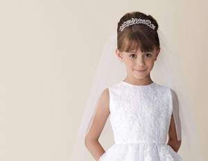 EM Veil Satin Trim/Pearls - Elliott Chambers    - Bridal -  Debs Dresses -  Communion dresses