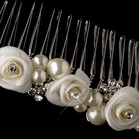 Rose and Pearl Tiara Comb - Elliott Chambers    - Bridal -  Debs Dresses -  Communion dresses