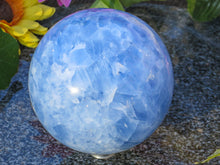 Load image into Gallery viewer, Large Sky Blue Calcites Sphere with Excellent Polish.