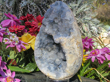 Load image into Gallery viewer, Polished Extra Large Blue Celestite Geode Centred Egg