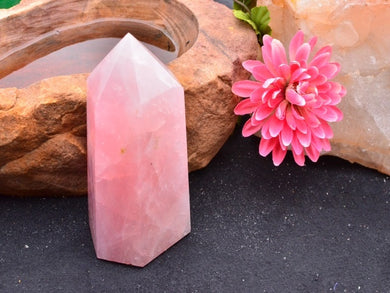 Rose Quartz Crystal Standing Display Tower