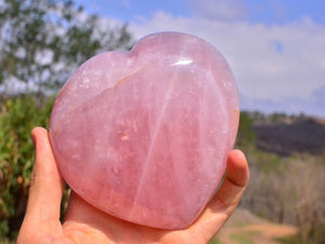 Extra Extra Large Gemmy Chatoyant Rose Quartz Gemstone Heart