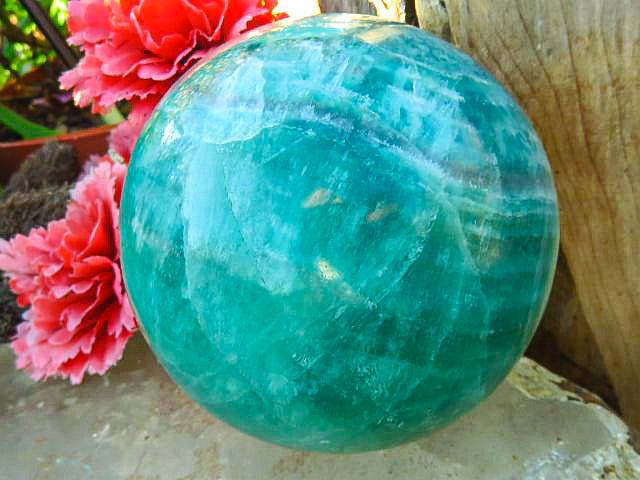 Polished Emerald Green Fluorite Ball