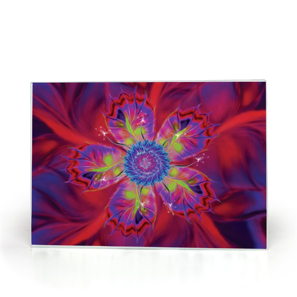 Dancing Star Flower Red (Glass Cutting Board)