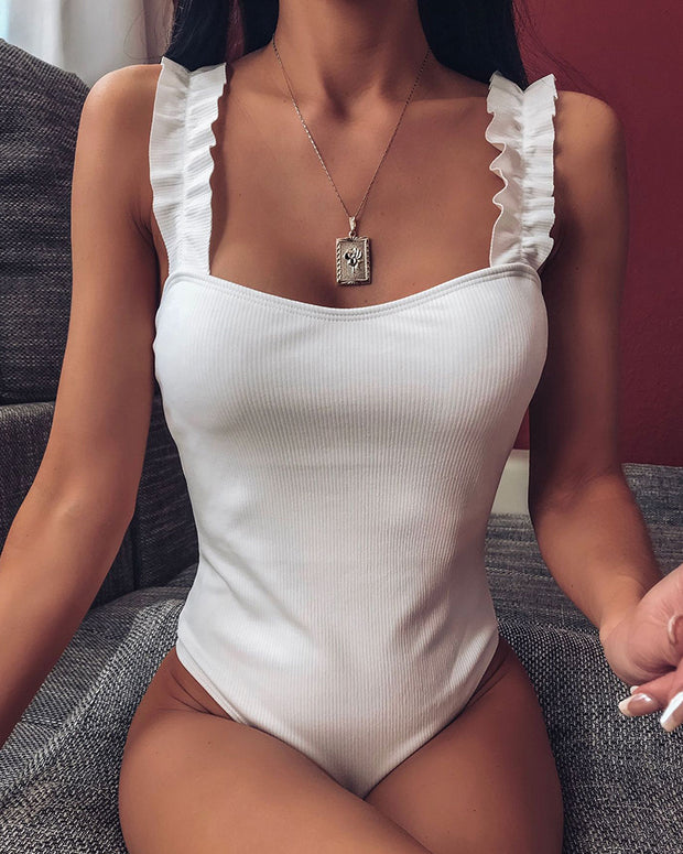 Frill Hem Thin Strap One Piece Swimwear