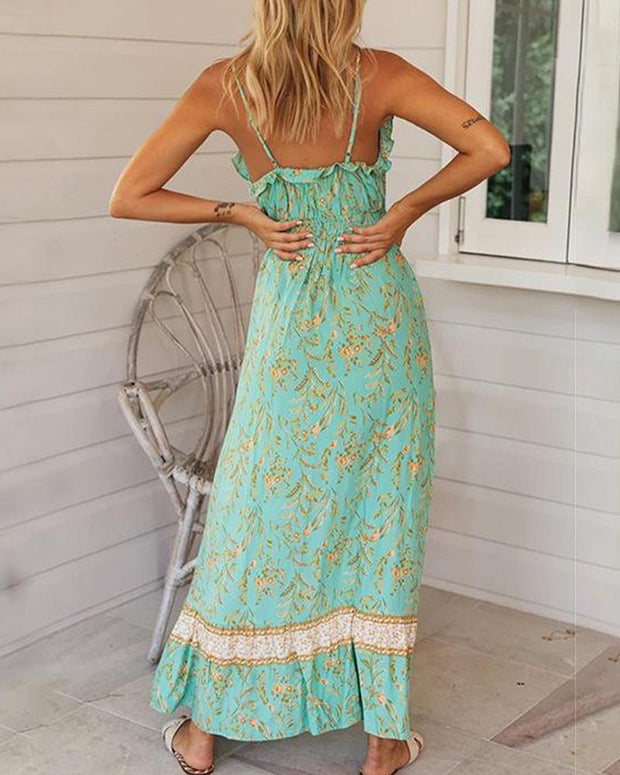V Neck Ruffle Trim Maxi Dress