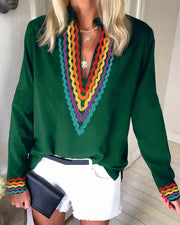 Ethnic Colorblock Long Sleeve Casual Blouse