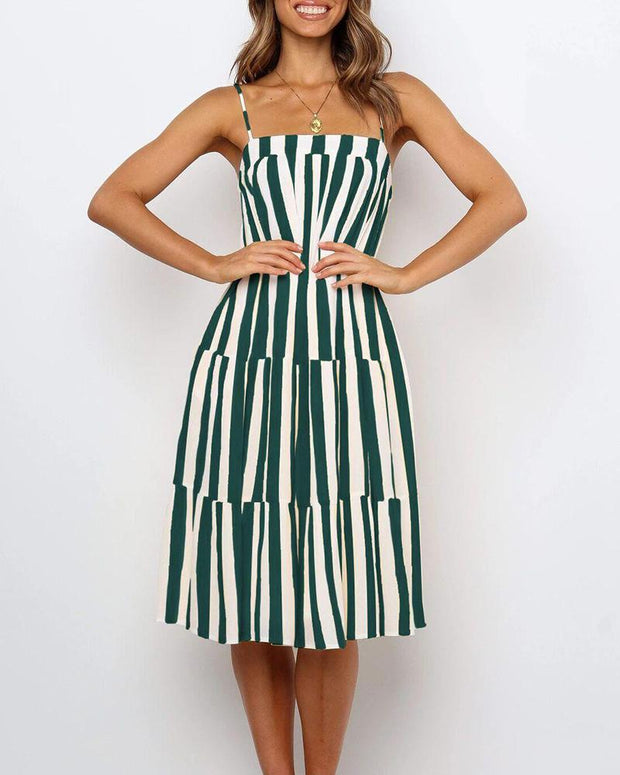 Square Neck Striped Ruffle Dress