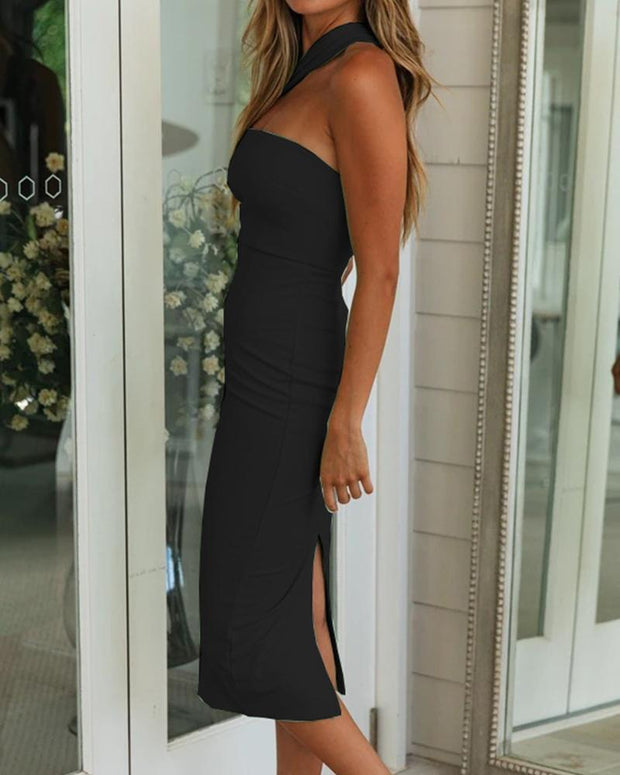 One Shoulder Bodycon Midi Dress