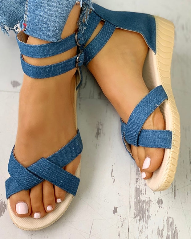Strap Crisscross Double Buckled Flat Sandals
