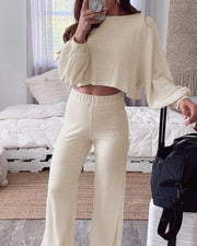 Round Neck Long Sleeve Top & Pants Set
