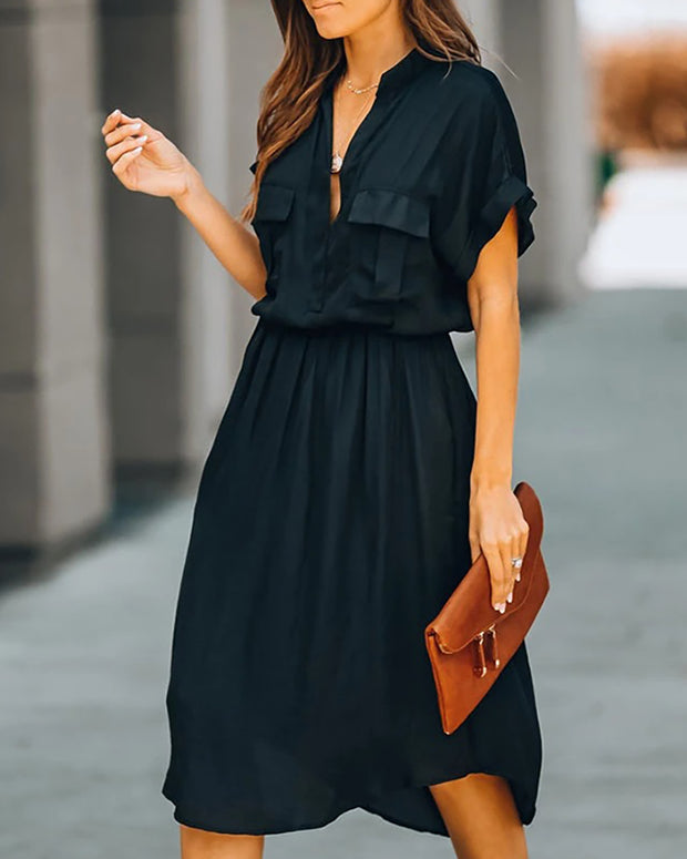 Solid Short Sleeve Pockets Casual Dress