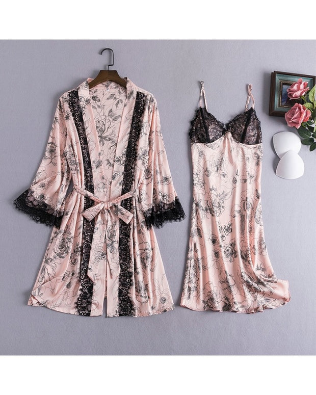 Floral Print Splicing Lace Camisole With Short Pants And Nightgowns 4-Piece Pajamas Sets