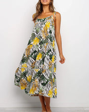 Botanical Print Cami Midi Dress