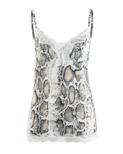 Serpentine Print V-Neck Sling Lace Tops